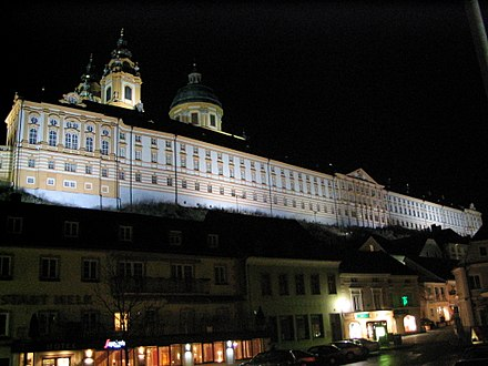 Stiftsgymnasium Melk is the oldest Austrian school Melk Stift Altstadt.jpg