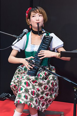 Melodica - Image: Melodica two hand playing by Pianonymous at Musical Instruments Fair Japan 2016