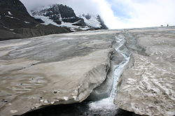 Fast-melting toe of the Athabasca Glacier, 2005