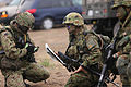 Members of the Japanese Ground Self-Defense Force prepare to give the warning order during a patrolling exercise at Marine Corps Base Camp Pendleton, Calif., June 12, 2013, during exercise Dawn Blitz 2013 130612-M-JU912-043.jpg