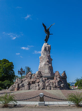 Russian monitor Rusalka - Side view of the monument in 2012