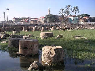 Memphis, Egypt - Ruins of the pillared hall of Rameses II at Mit Rahina
