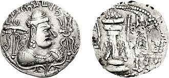 Gwalior - Coin of the Alchon Huns king Mihirakula, who ruled in Gwalior circa 520 AD.