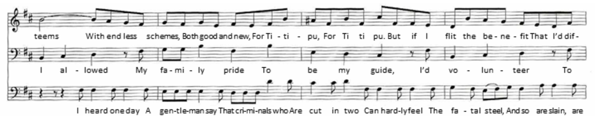 "Characteristic ""counterpoint of characters"" from The Mikado, Act 1 Mikado-trio.tif"