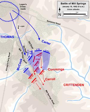 Battle of Mill Springs - Battle of Mill Springs, Union attacks
