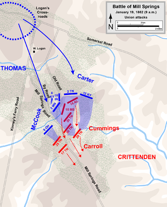 Battle of Mill Springs - Battle of Mill Springs, Union attacks
