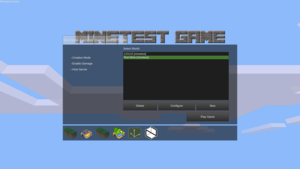 The Minetest main menu with the Minetest Game mod selected