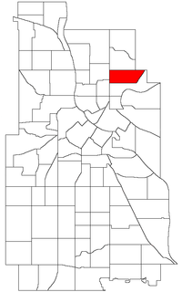 Location of Windom Park within the U.S. city of Minneapolis