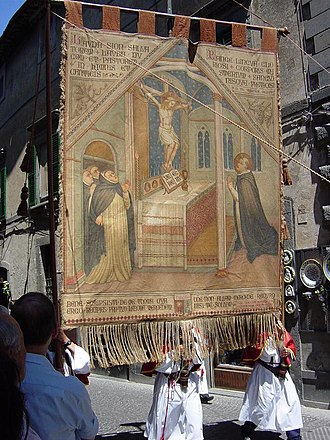 Corporal of Bolsena - A tapestry depicting the Miracle of Bolsena as part of the Corpus Christi parade in Orvieto.