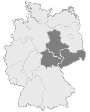 Central German football championship - The region of Mitteldeutschland within the current borders of Germany