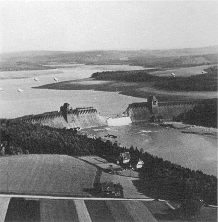 "The Mohne Dam breached following Operation Chastise, carried out by the ""Dambusters"" of the RAF. Mohne Dam Breached.jpg"