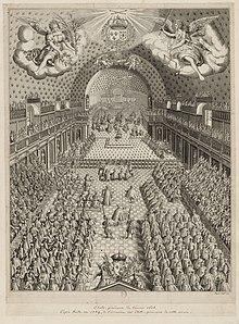 Estampe représentant le théâtre du Petit-Bourbon en 1614