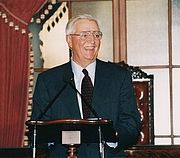 Former Vice President Mondale giving a lecture in the Senate in September 2002.