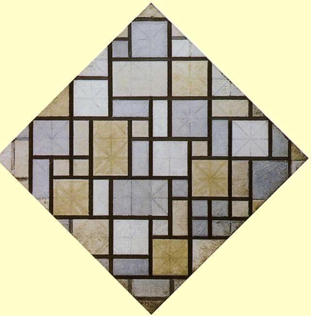 Mondrian Composition - Light Color Planes with Grey Lines