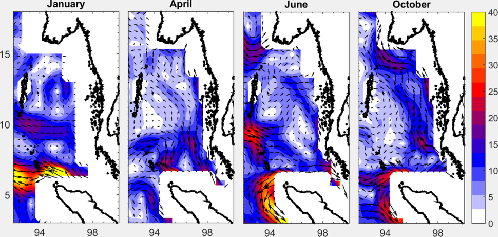 Monthly averaged OSCAR surface currents in January, April, June and October, expressed in cmps