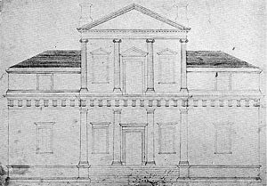 Fiske Kimball - Thomas Jefferson's drawing of original front elevation of Monticello. Illustration in Fiske Kimball's Domestic Architecture of the American Colonies and of the Early Republic, 1922