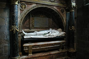 "James Graham, 1st Marquess of Montrose - The exhumed body of Montrose was placed inside St. Giles' Cathedral. His tomb is inscribed with lines from one of his poems, ""Scatter my ashes, strew them in the air/Lord, since thou knowest where all these atoms are..."""