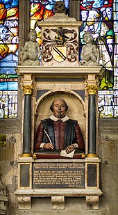 Shakespeare's funerary monument in Stratford-upon-Avon (Source: Wikimedia)