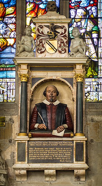 Shakespeare's funerary monument - Shakespeare's funerary monument, Holy Trinity Church, Stratford.