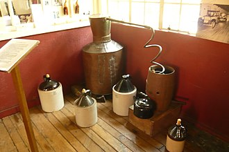 Moonshine - A historical moonshine distilling-apparatus in a museum.