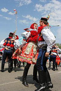 Male and female Moravian Slovak costumes worn during the Jízda králů Festival held annually in the village of Vlčnov in southeastern Moravia.