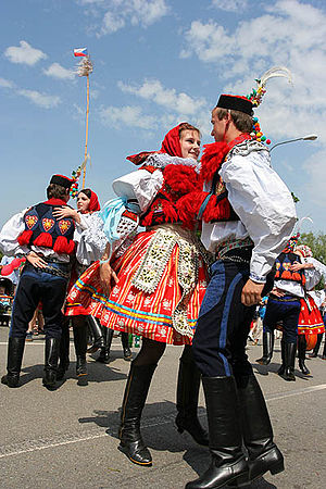 Moravian Slovakia - Male and female traditional costumes worn during the Jízda Králů Festival (Ride of the Kings) held annually in the village of Vlčnov near Uherské Hradiště.