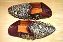 Moroccan babouche, burgundy leather with silver sequins, 20th century - Bata Shoe Museum - DSC00131.JPG