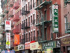 Mott Street - Typical American fire escapes on Mott Street