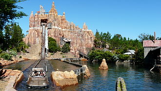 Wild West Falls Adventure Ride - The final splashdown and station of Wild West Falls