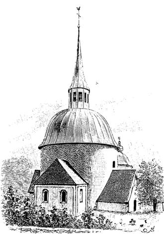 Munsö - The 12th century round church in 1874