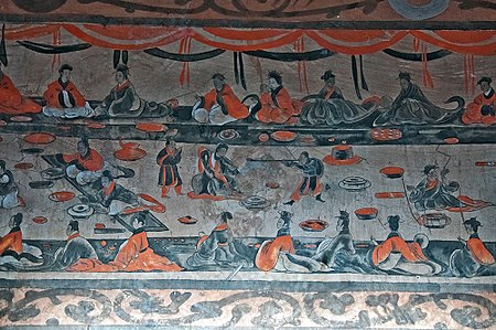 A late Eastern Han (25-220 AD) Chinese tomb mural showing lively scenes of a banquet, dance and music, acrobatics, and wrestling, from the Dahuting Han tombs, on the southern bank of the Suihe River in Xinmi, Henan Mural Painting of a Banquet Scene from Han Tomb in Tahut'ing.jpg