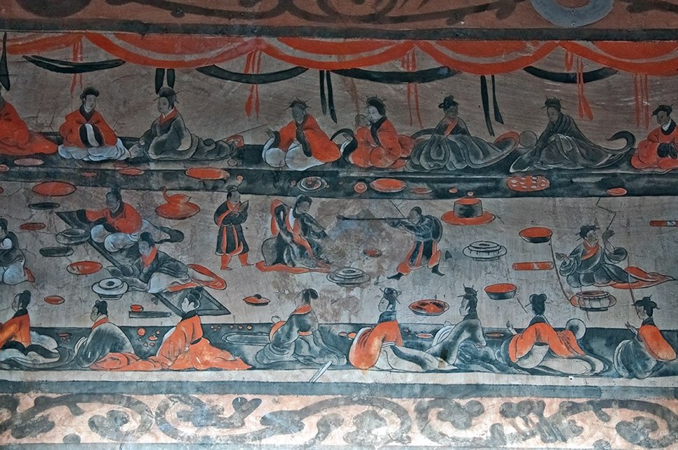 Mural Painting of a Banquet Scene from the Han Dynasty Tomb of Ta-hu-t'ing