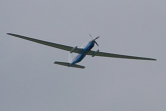 Grob G 520 - inflight, showing the high wing aspect ratio
