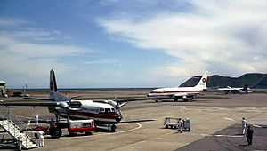 Wellington International Airport - NAC Fokker F27 and Boeing 737, and SAFE Air Bristol 170 at Wellington Airport, 1969