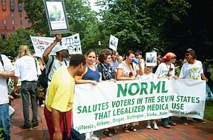 """Initiative 59 - NORML members protest in Lafayette Park across from the White House during the annual July 4th """"Smoke-In"""" in 2000."""