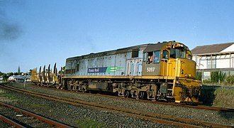 New Zealand DX class locomotive - DX 5097 in Cato Blue livery with Tranz Rail logo, in Auckland, 2001.