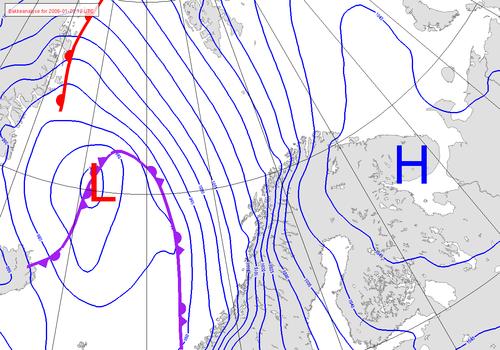 isotherm linje på kartan