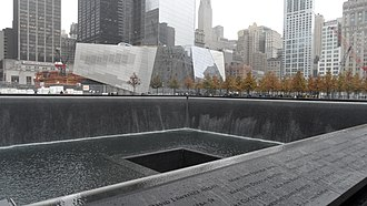 National September 11 Memorial & Museum - Construction progress (left to right): January 2008, September 2010, December 2010, August 2011, October 2011