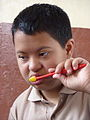 Nepalese child with Down Syndrome practicing oral health during an oral health promotion activity.jpg