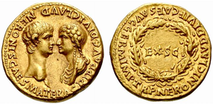 Aureus of Nero and his mother, Agrippina, c. 54.