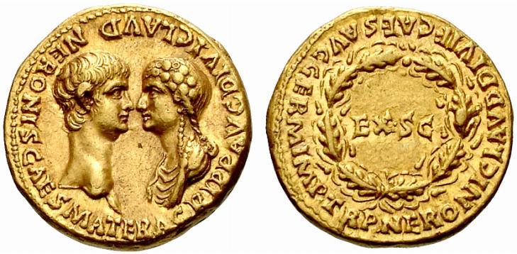 Nero Agrippina aureus 54