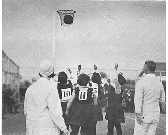 Netball - A goal is scored at a women's netball game in New Zealand, circa 1920s.
