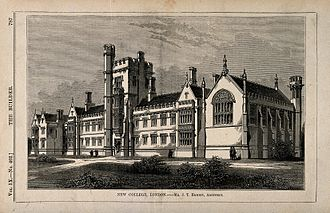 New College London - New College, St John's Wood, London. Wood engraving by C.D. Laing after B. Sly, 1851