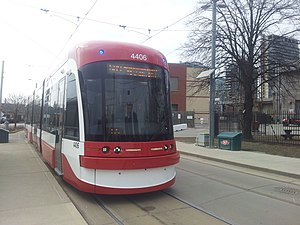Flexity Outlook (Toronto streetcar) - TTC Flexity streetcar on 509 Harbourfront line at Exhibition Loop