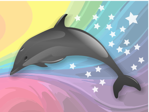 New age dolphin rainbow