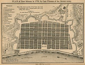 Great New Orleans Fire (1794) -  1770 map of New Orleans; Square marked behind Parade is now Jackson Square.