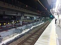New platform construction at Sendagaya station, seeing towards Shinjuku.jpg