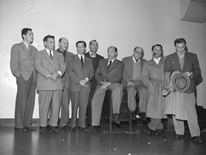 Ring Lardner Jr. - Ring Lardner Jr. (far left) with eight others of the Hollywood 10 charged with contempt of Congress in 1947