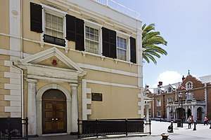 Politics of Gibraltar - Government of Gibraltar headquarters at No. 6 Convent Place with The Convent in the background.
