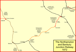 Stratford-upon-Avon and Midland Junction Railway - System map of the Northampton and Banbury Junction Railway